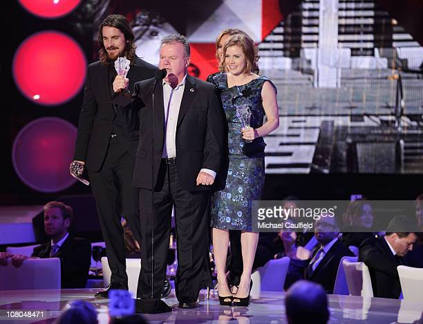 Actor Christian Bale actor Jack McGee actress Melissa Leo and actress Amy Adams onstage during the 16th Annual Critics' Choice Movie Awards at the...