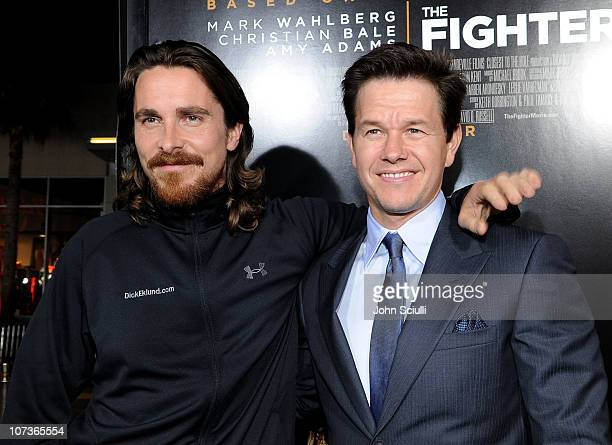 Actor Christian Bale and Actor/Producer Mark Wahlberg arrive at Paramount Pictures' The Fighter premiere at Grauman's Chinese Theatre on December 6...