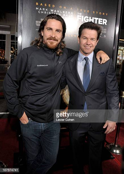 Actor Christian Bale and actor/Producer Mark Wahlberg arrive at The Fighter Los Angeles premiere held at the Grauman's Chinese Theatre on December 6...