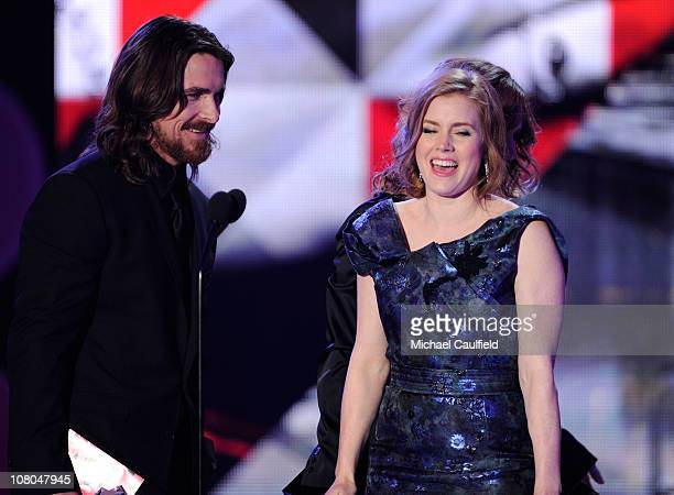 Actor Christian Bale and actress Amy Adams onstage during the 16th Annual Critics' Choice Movie Awards at the Hollywood Palladium on January 14 2011...