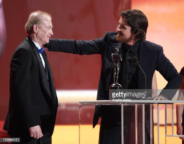 Actor Christian Bale and Dicky Eklund attend the 17th Annual Screen Actors Guild Awards at The Shrine Auditorium on January 30, 2011 in Los Angeles,...