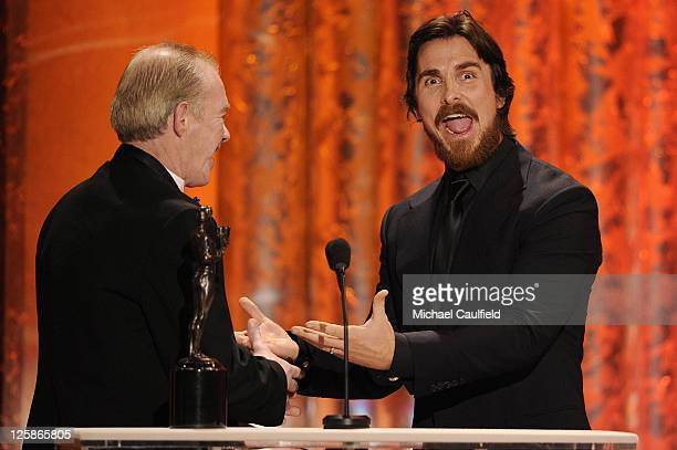 Actor Christian Bale and former boxer Dicky Eklund onstage at the TNT/TBS broadcast of the 17th Annual Screen Actors Guild Awards held at The Shrine...