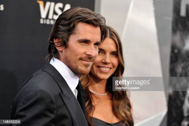 Actor Christian Bale and Sibi Blazic attend 'The Dark Knight Rises' premiere at AMC Lincoln Square Theater on July 16 2012 in New York City