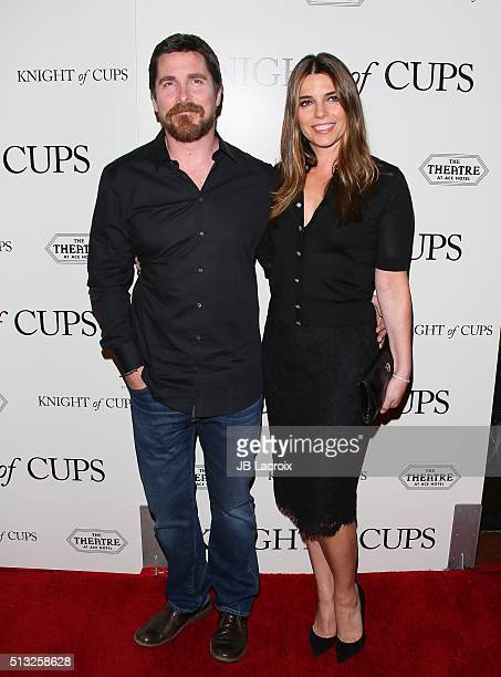 Actor Christian Bale and Sibi Blazic attend the premiere of Broad Green Pictures' 'Knight of Cups' held at The Theatre at Ace Hotel on March 1 2016...
