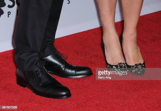 Actor Christian Bale and Sibi Blazic shoe detail attend premiere of Open Roads Films' 'The Promise' at TCL Chinese Theatre on April 12 2017 in...