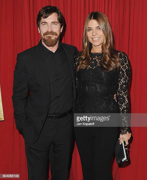 Actor Christian Bale and wife Sibi Blazic arrive at the 16th Annual AFI Awards on January 8, 2016 in Los Angeles, California.