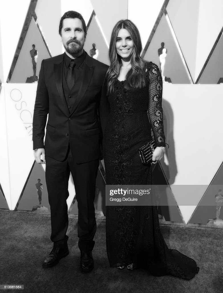 Actor Christian Bale and wife Sibi Blazic arrive at the 88th Annual Academy Awards at Hollywood & Highland Center on February 28, 2016 in Hollywood, California.