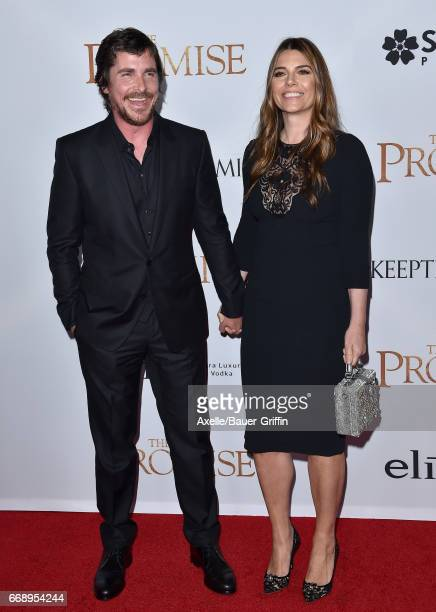 Actor Christian Bale and wife Sibi Blazic arrive at the Premiere of Open Road Films' 'The Promise' at TCL Chinese Theatre on April 12 2017 in...