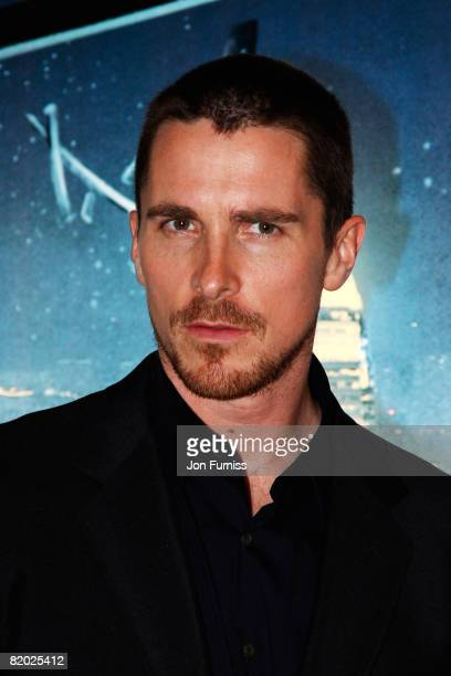 Actor Christian Bale arrives at the UK film premiere of 'The Dark Knight' at Odeon Leicester Square on July 21 2008 in London England
