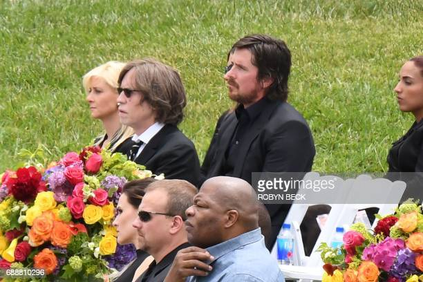 Actor Christian Bale attends the funeral and memorial service for Soundgarden frontman Chris Cornell May 26 2017 at Hollywood Forever Cemetery in Los...