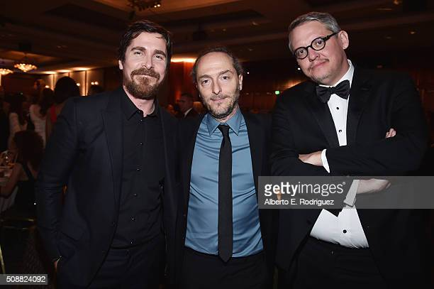 Actor Christian Bale cinematographer Emmanuel Lubezki and director Adam McKay attend the 68th Annual Directors Guild Of America Awards at the Hyatt...