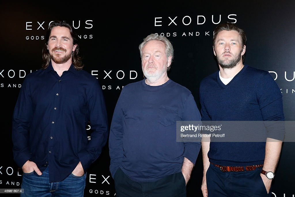 Actor Christian Bale (Moise), Director Ridley Scott and Actor Joel Edgerton (Ramses) attend the 'Exodus: Gods and Kings' Paris Photocall at Hotel Bristol on December 2, 2014 in Paris, France.