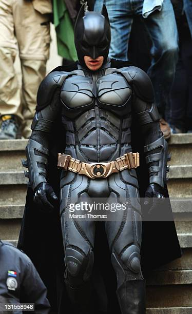 """Actor Christian Bale is seen in costume as Batman on the set of """"The Dark Knight Rises"""" on location on Wall Street on November 5, 2011 in New York..."""