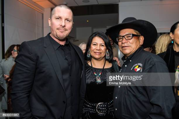 Actor Christian Bale Lynette Two Bulls and Chief Phillip Whiteman Jr attend the after party for the premiere of Entertainment Studios Motion...