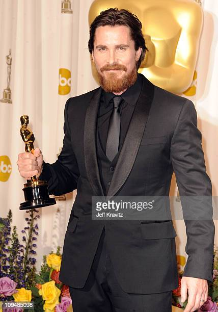 Actor Christian Bale poses in the press room during the 83rd Annual Academy Awards held at the Kodak Theatre on February 27 2011 in Los Angeles...