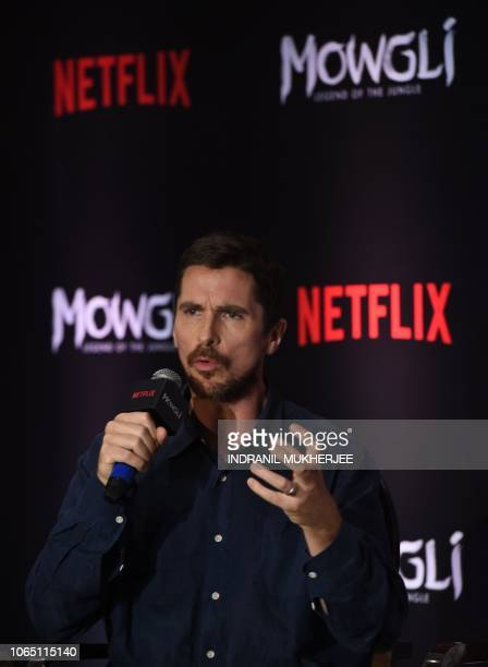 US actor Christian Bale speaks during a press conference for Netflix's 'Mowgli Legend of the Jungle' in Mumbai on November 25 ahead of its world...