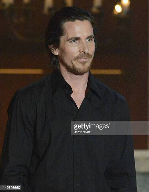 Actor Christian Bale speaks onstage at Spike TV's 6th Annual 'Guys Choice' Awards at Sony Studios on June 2 2012 in Los Angeles California