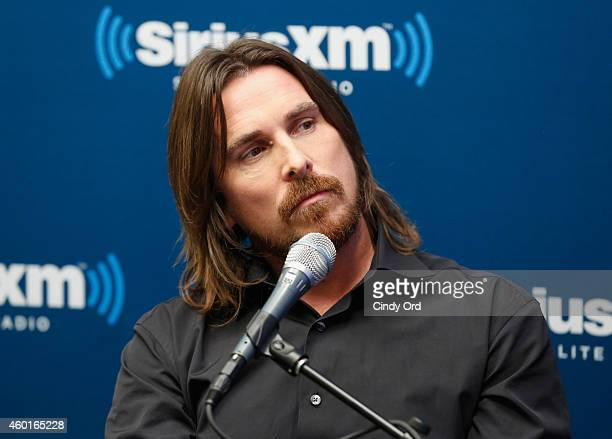 Actor Christian Bale takes part in a SiriusXM 'Town Hall Exodus Gods and Kings' special with host Matt Bean Editor of Entertainment Weekly on...