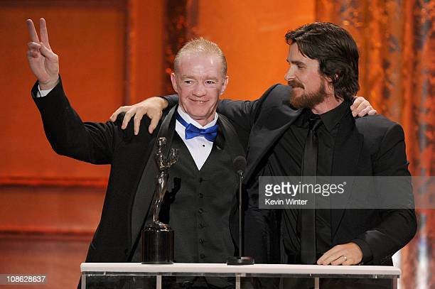 Actor Christian Bale winner of Outstanding Performance by a Male Actor in a Supporting Role award for 'The Fighter' and former boxer Dicky Eklund...