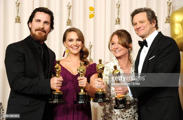 Actor Christian Bale winner of the award for Best Actor in a Supporting Role for 'The Fighter' Natalie Portman winner of the award for Best Actress...