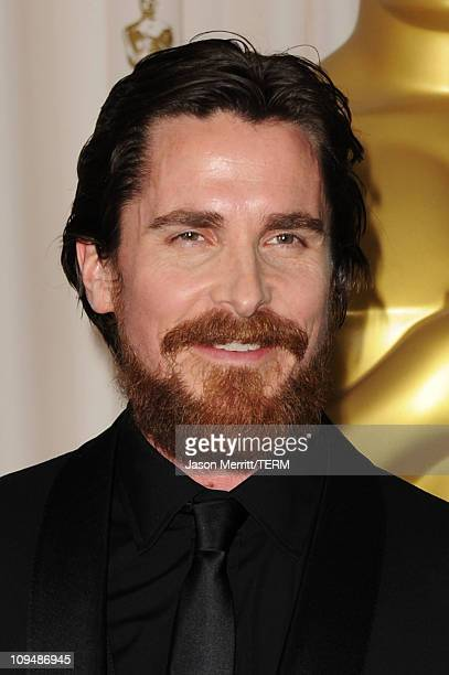 Actor Christian Bale winner of the award for Best Actor in a Supporting Role for 'The Fighter' poses in the press room during the 83rd Annual Academy...