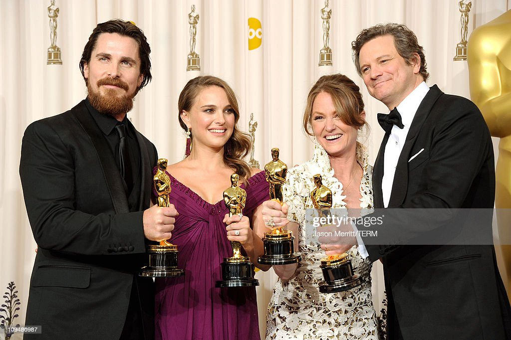 Actor Christian Bale, winner of the award for Best Actor in a Supporting Role for 'The Fighter', Natalie Portman, winner of the award for Best Actress in a Leading Role for 'Black Swan', Melissa Leo, winner of the award for Best Actor in a Supporting Role for 'The Fighter', and Colin Firth, winner of the award for Best Actor in a Leading Role for 'The King's Speech', pose in the press room during the 83rd Annual Academy Awards held at the Kodak Theatre on February 27, 2011 in Hollywood, California.
