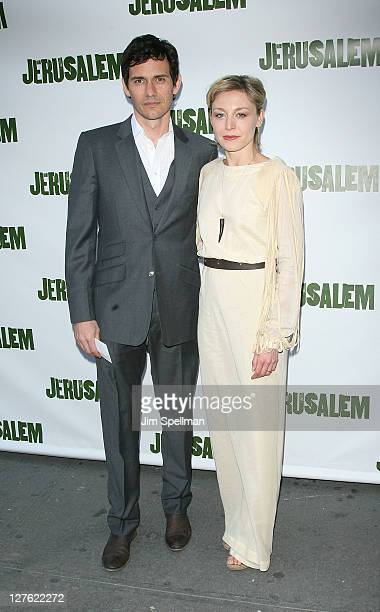 Actor Christian Camargo and wife actress Juliet Rylance attend the opening night of 'Jerusalem' on Broadway at The Music Box Theatre on April 21 2011...