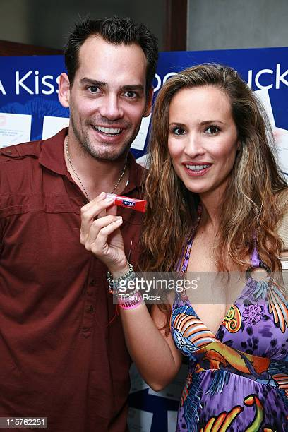 Actor Christian de la Fuente and his wife actress Angelica Castro with Nivea products attend Melanie Segal's Emmy House on September 19 2008 in Los...