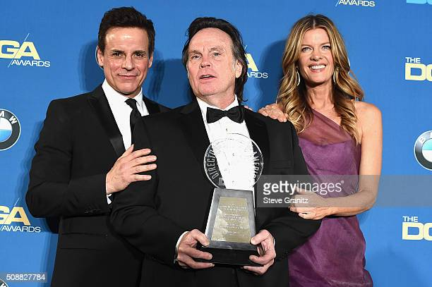 Actor Christian Jules Le Blanc director Thomas McDermott and actress Michelle Stafford pose in the press room during the 68th Annual Directors Guild...