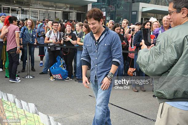 Actor Christian Kane attends the TNT/TBS The Librarian Season 2 3D street art activation TNT at the New York Comic Con 2015 at the Jacob Javitz...