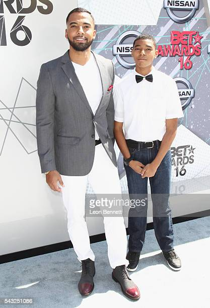 Actor Christian Keyes and son Christian Keyes Jr attend the Make A Wish VIP Experience at the 2016 BET Awards on June 26 2016 in Los Angeles...