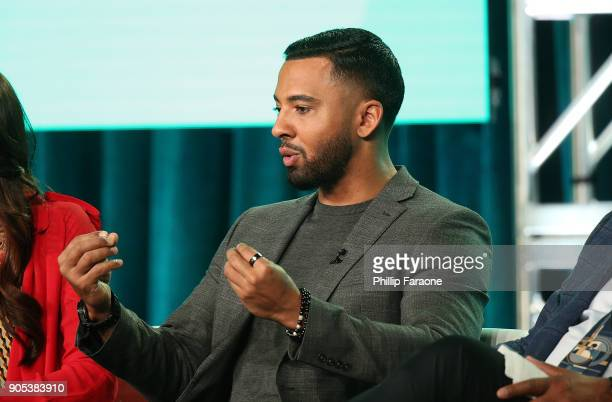 Actor Christian Keyes of 'In Contempt' speaks onstage during the BET Network portion of the 2018 Winter TCA on January 15 2018 in Pasadena California