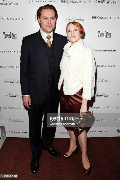 """Actor Christian McKay and Emily Allen attend a screening of """"Me And Orson Welles"""" hosted by the Cinema Society, Screenvision and Brooks Brothers at..."""