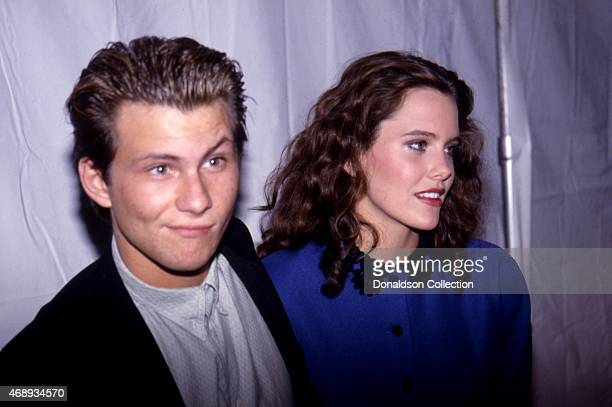 Actor Christian Slater Actress Ione Skye pose for a portrait in circa 1989 in Los Angeles California