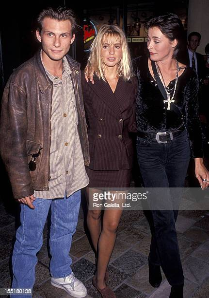 Actor Christian Slater actress Olivia d'Abo and actress Amanda Donohoe attend The Indian Runner Century City Premiere on September 19 1991 at AMC...
