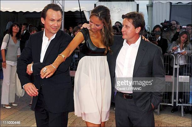 Actor Christian Slater actress Svetlana Metkina and director Emilio Estevez at the premiere of 'Bobby' at the 32nd American Film Festival in...