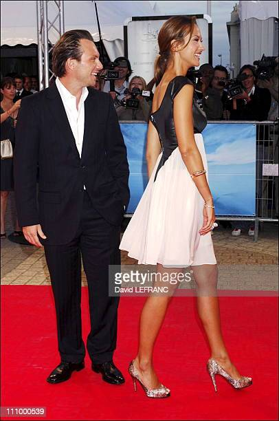 Actor Christian Slater actress Svetlana Metkina at the premiere of 'Bobby' at the 32nd American Film Festival in Deauville France on September 08th...
