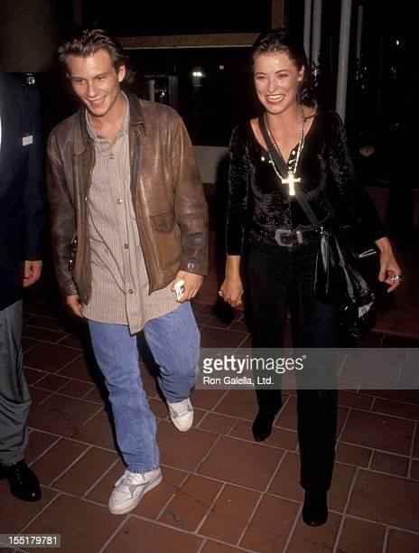 Actor Christian Slater and actress Amanda Donohoe attend The Indian Runner Century City Premiere on September 19 1991 at AMC Century City in Century...
