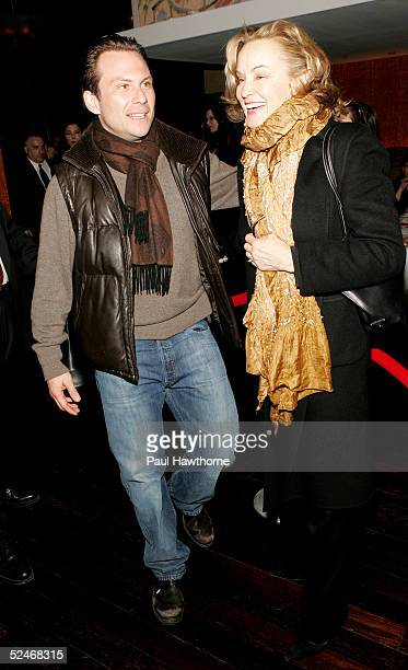 Actor Christian Slater and actress Jessica Lange attend the opening night of 'The Glass Menagerie' after party at the Bryant Park Grill on March 22...