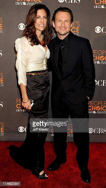 Actor Christian Slater and agent Tracy Brennan arrives at the People's Choice Awards 2010 held at Nokia Theatre LA Live on January 6 2010 in Los...