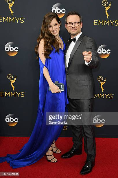 Actor Christian Slater and Brittany Lopez attend the 68th Annual Primetime Emmy Awards at Microsoft Theater on September 18, 2016 in Los Angeles,...