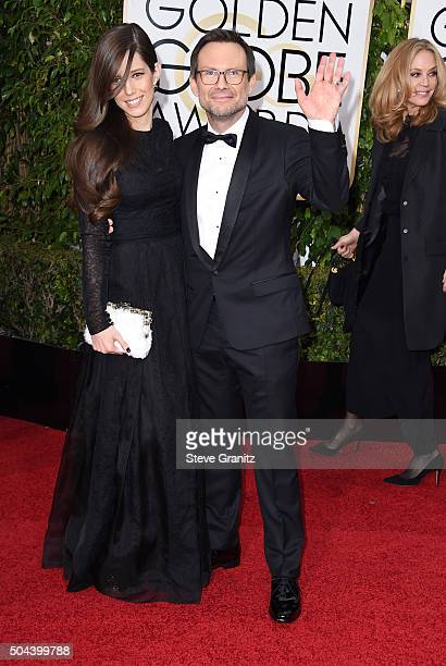 Actor Christian Slater and Brittany Lopez attend the 73rd Annual Golden Globe Awards held at the Beverly Hilton Hotel on January 10, 2016 in Beverly...