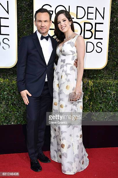Actor Christian Slater and Brittany Lopez attend the 74th Annual Golden Globe Awards at The Beverly Hilton Hotel on January 8, 2017 in Beverly Hills,...