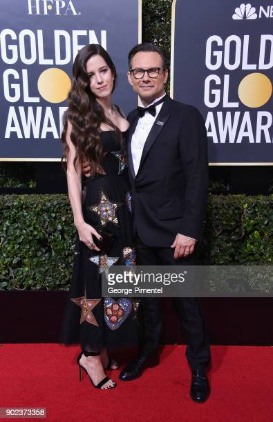 Actor Christian Slater and Brittany Lopez attend The 75th Annual Golden Globe Awards at The Beverly Hilton Hotel on January 7, 2018 in Beverly Hills,...