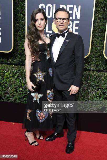 Actor Christian Slater and Brittany Lopez attends The 75th Annual Golden Globe Awards at The Beverly Hilton Hotel on January 7, 2018 in Beverly...