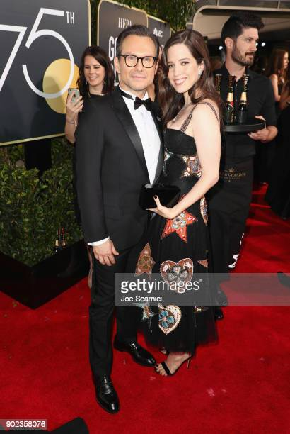 Actor Christian Slater and Brittany Lopez celebrate The 75th Annual Golden Globe Awards with Moet & Chandon at The Beverly Hilton Hotel on January 7,...