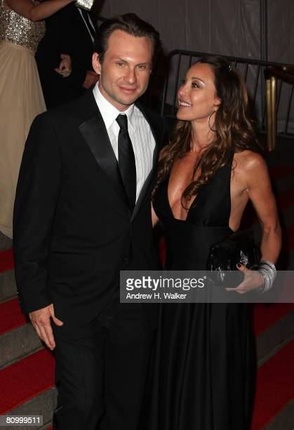 Actor Christian Slater and designer Tamara Mellon depart from the Metropolitan Museum of Art Costume Institute Gala, Superheroes: Fashion and...