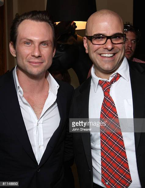 Actor Christian Slater and director Tony Leondis attend the 'Igor' reception photocall at the HP Lounge at the Majestic Hotel during the 61st Cannes...