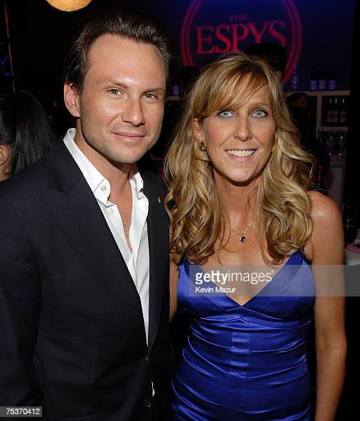 HOLLYWOOD JULY 11 Actor Christian Slater and ESPY Producer Maura Mandt backstage at the 2007 ESPY Awards at the Kodak Theatre on July 11 2007 in...