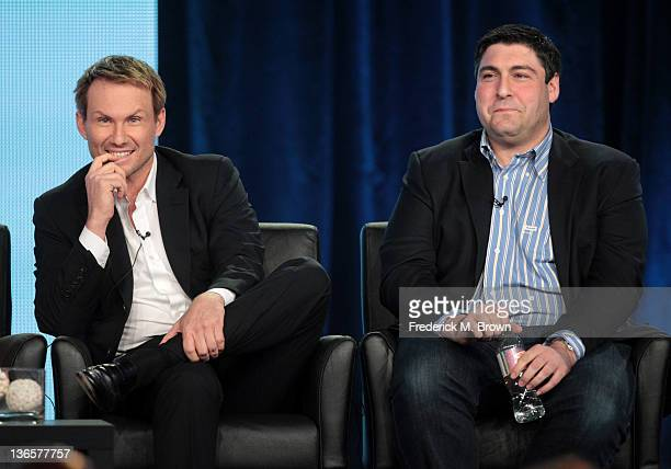 Actor Christian Slater and executive producer Adam F Goldberg speak onstage during the spring comedy panel during the FOX Broadcasting Company...